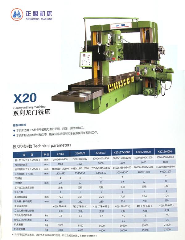 x20系列龙门铣床主要结构性能与特点